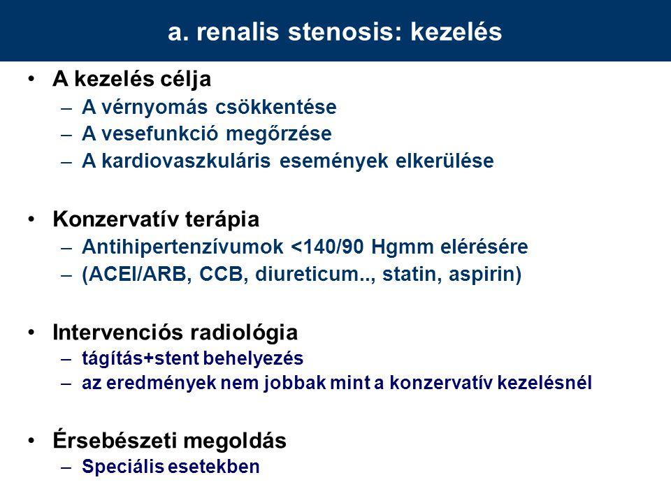 a. renalis stenosis: kezelés A kezelés célja –A vérnyomás csökkentése –A vesefunkció megőrzése –A kardiovaszkuláris események elkerülése Konzervatív t