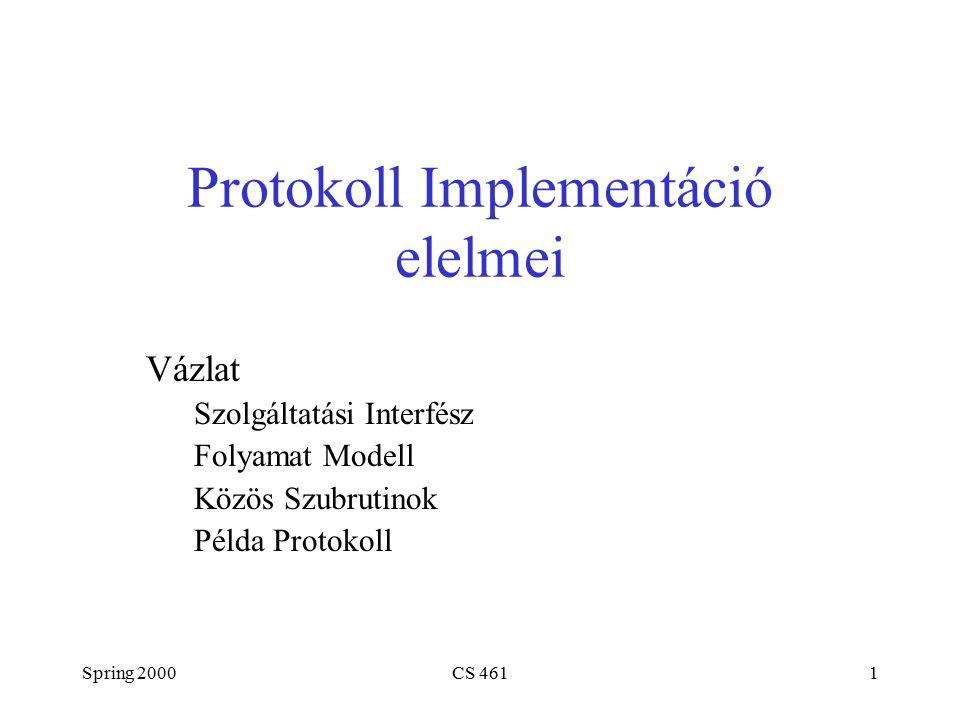 Spring 2000CS 4612 Socket API (application programming interface) alkalmazás-programozói interfész Socket létrehozása int socket(int domain, int type, int protocol) domain = PF_INET, PF_UNIX type = SOCK_STREAM, SOCK_DGRAM Passzív megnyitás (szerver oldalon) int bind(int socket, struct sockaddr *addr, int addr_len) int listen(int socket, int backlog) int accept(int socket, struct sockaddr *addr, int addr_len)
