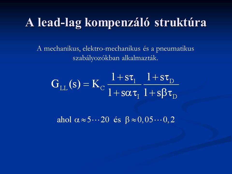 A lead-lag kompenzáló struktúra A mechanikus, elektro-mechanikus és a pneumatikus szabályozókban alkalmazták.