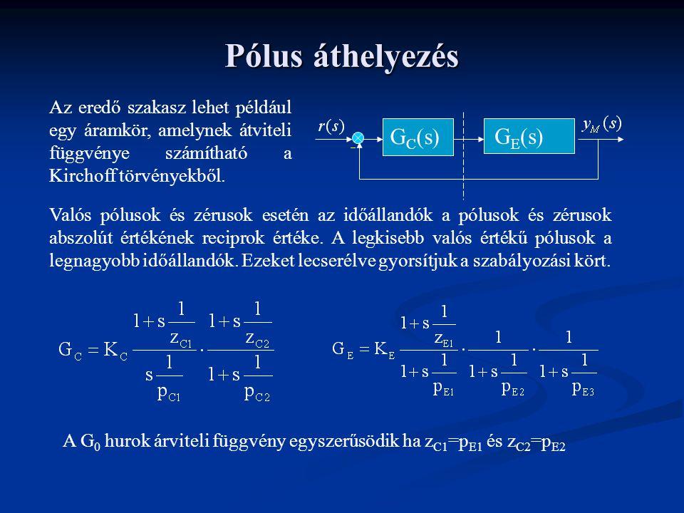 Pólus áthelyezés G E (s) G C (s) Az eredő szakasz lehet például egy áramkör, amelynek átviteli függvénye számítható a Kirchoff törvényekből.