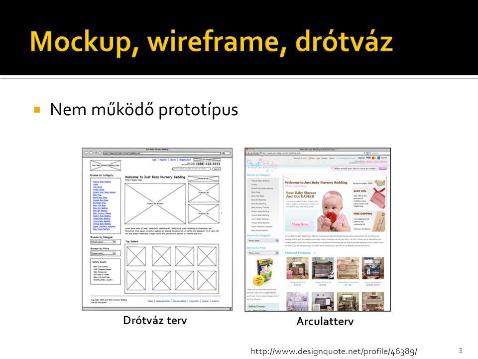  Nem működő prototípus 3 http://www.designquote.net/profile/46389/ Drótváz terv Arculatterv