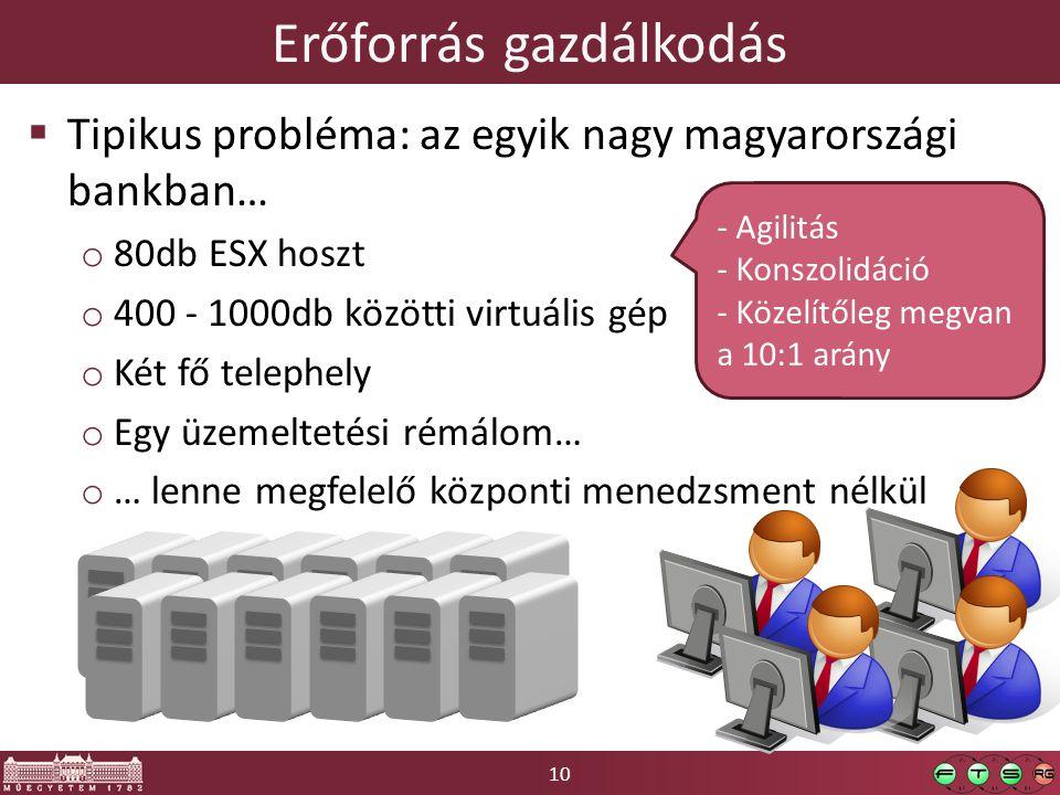 10 Erőforrás gazdálkodás  Tipikus probléma: az egyik nagy magyarországi bankban… o 80db ESX hoszt o 400 - 1000db közötti virtuális gép o Két fő telephely o Egy üzemeltetési rémálom… o … lenne megfelelő központi menedzsment nélkül - Agilitás - Konszolidáció - Közelítőleg megvan a 10:1 arány