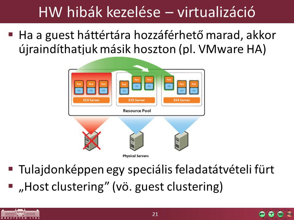 21 HW hibák kezelése – virtualizáció  Ha a guest háttértára hozzáférhető marad, akkor újraindíthatjuk másik hoszton (pl.