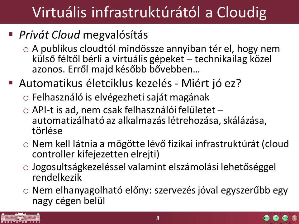 8 Virtuális infrastruktúrától a Cloudig  Privát Cloud megvalósítás o A publikus cloudtól mindössze annyiban tér el, hogy nem külső féltől bérli a virtuális gépeket – technikailag közel azonos.