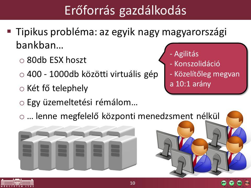 10 Erőforrás gazdálkodás  Tipikus probléma: az egyik nagy magyarországi bankban… o 80db ESX hoszt o 400 - 1000db közötti virtuális gép o Két fő telephely o Egy üzemeltetési rémálom… o … lenne megfelelő központi menedzsment nélkül - Agilitás - Konszolidáció - Közelítőleg megvan a 10:1 arány - Agilitás - Konszolidáció - Közelítőleg megvan a 10:1 arány