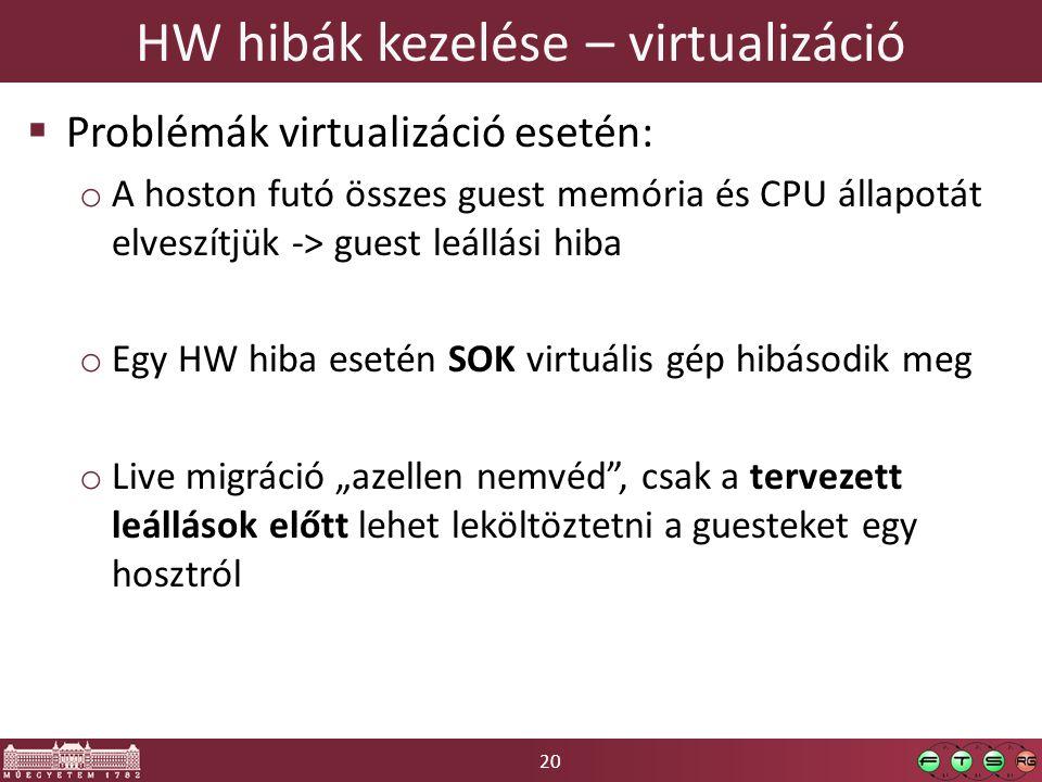 """20 HW hibák kezelése – virtualizáció  Problémák virtualizáció esetén: o A hoston futó összes guest memória és CPU állapotát elveszítjük -> guest leállási hiba o Egy HW hiba esetén SOK virtuális gép hibásodik meg o Live migráció """"azellen nemvéd , csak a tervezett leállások előtt lehet leköltöztetni a guesteket egy hosztról"""