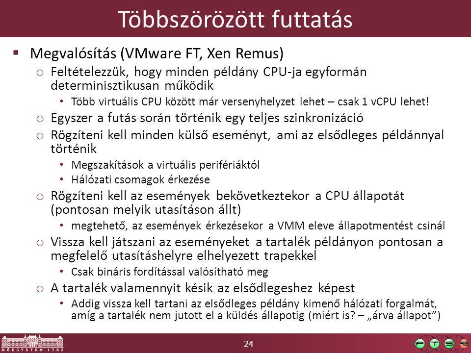24 Többszörözött futtatás  Megvalósítás (VMware FT, Xen Remus) o Feltételezzük, hogy minden példány CPU-ja egyformán determinisztikusan működik Több virtuális CPU között már versenyhelyzet lehet – csak 1 vCPU lehet.
