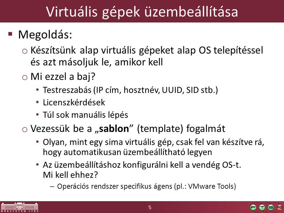 5 Virtuális gépek üzembeállítása  Megoldás: o Készítsünk alap virtuális gépeket alap OS telepítéssel és azt másoljuk le, amikor kell o Mi ezzel a baj.