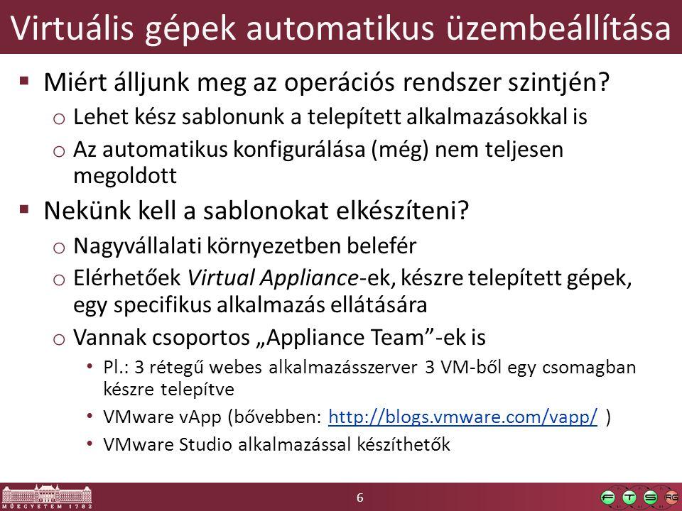 6 Virtuális gépek automatikus üzembeállítása  Miért álljunk meg az operációs rendszer szintjén.