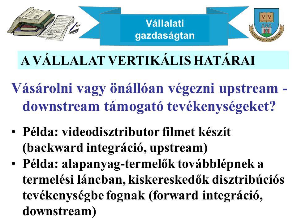 Vállalati gazdaságtan A VÁLLALAT VERTIKÁLIS HATÁRAI Vásárolni vagy önállóan végezni upstream - downstream támogató tevékenységeket? Példa: videodisztr