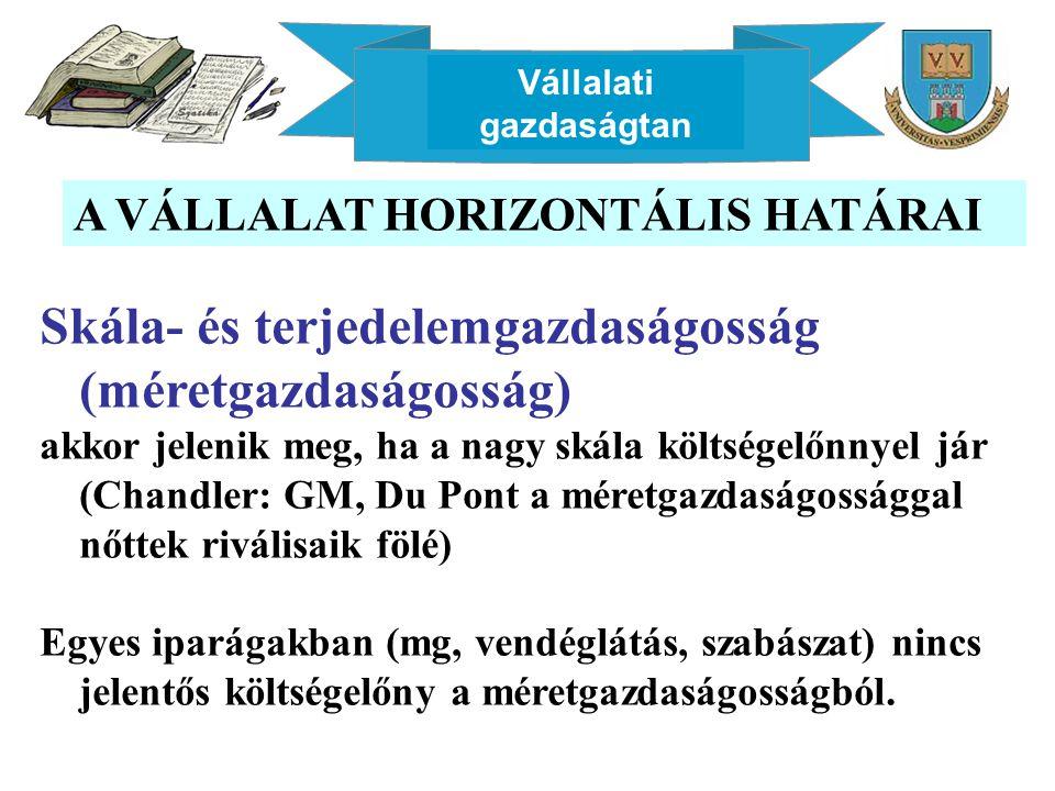 Vállalati gazdaságtan A VÁLLALAT HORIZONTÁLIS HATÁRAI Skála- és terjedelemgazdaságosság (méretgazdaságosság) akkor jelenik meg, ha a nagy skála költsé