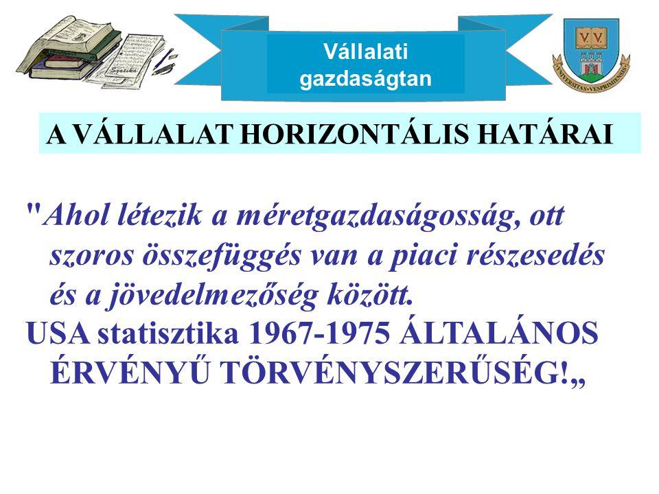 Vállalati gazdaságtan A VÁLLALAT HORIZONTÁLIS HATÁRAI