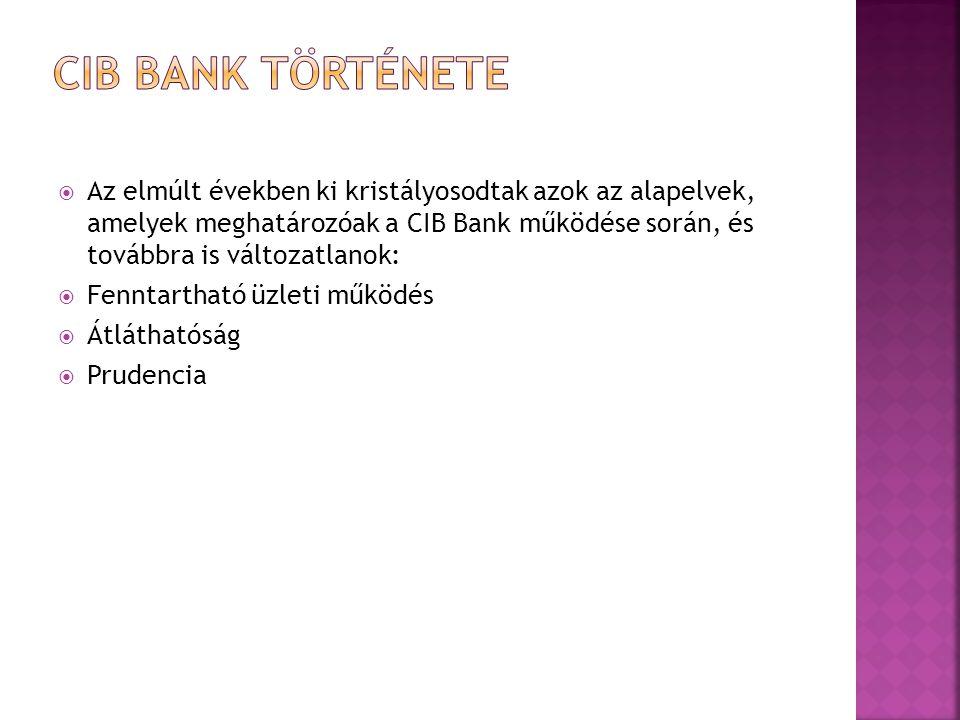  A 30 éves tapasztalattal rendelkező CIB Bank univerzális hitelintézetként magas színvonalú pénzügyi szolgáltatásokat nyújt társas vállalkozások, intézmények, önkormányzatok és egyéni vállalkozók, valamint lakossági ügyfelek számára egyaránt.