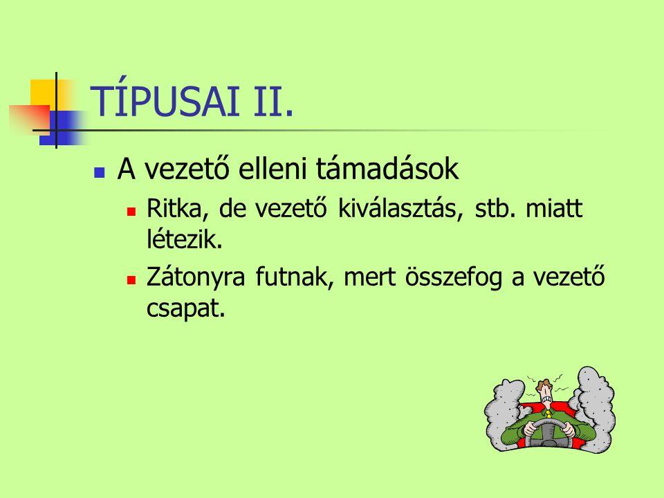 TÍPUSAI II. A vezető elleni támadások Ritka, de vezető kiválasztás, stb.