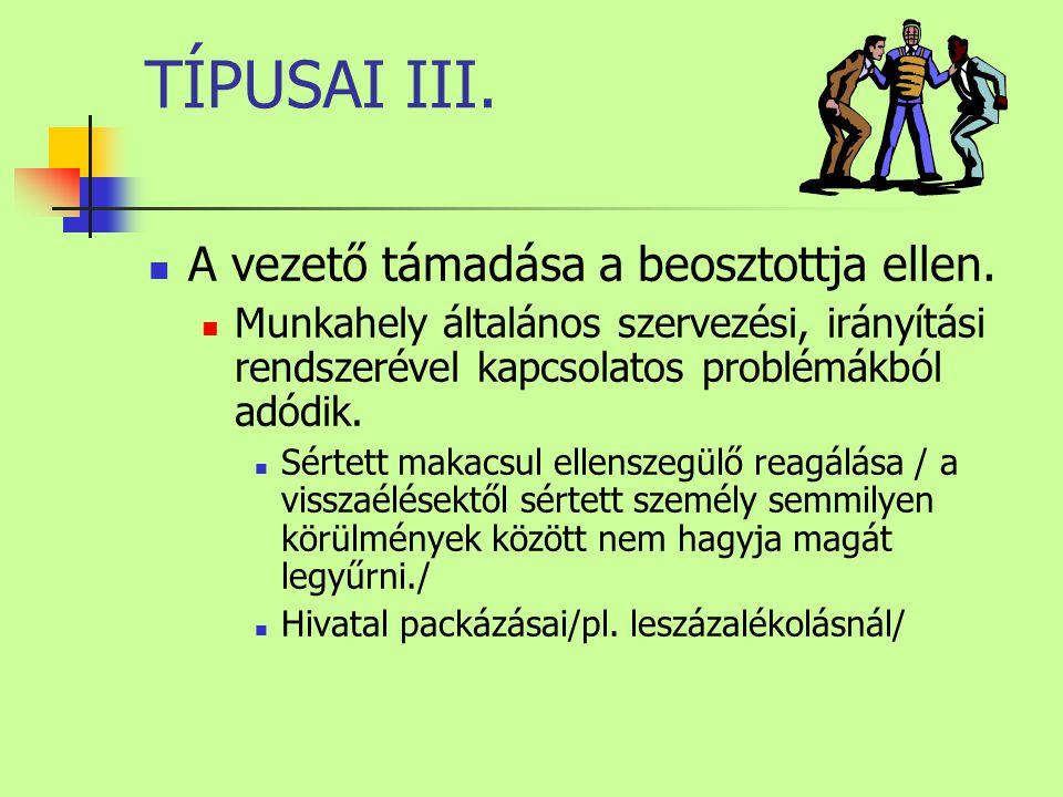 TÍPUSAI III. A vezető támadása a beosztottja ellen.
