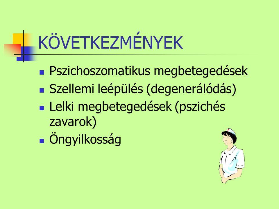 KÖVETKEZMÉNYEK Pszichoszomatikus megbetegedések Szellemi leépülés (degenerálódás) Lelki megbetegedések (pszichés zavarok) Öngyilkosság