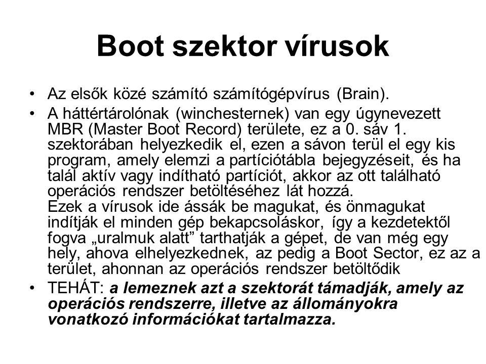Boot szektor vírusok Az elsők közé számító számítógépvírus (Brain). A háttértárolónak (winchesternek) van egy úgynevezett MBR (Master Boot Record) ter