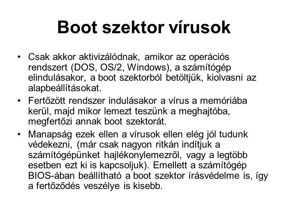 Boot szektor vírusok Csak akkor aktivizálódnak, amikor az operációs rendszert (DOS, OS/2, Windows), a számítógép elindulásakor, a boot szektorból betöltjük, kiolvasni az alapbeállításokat.