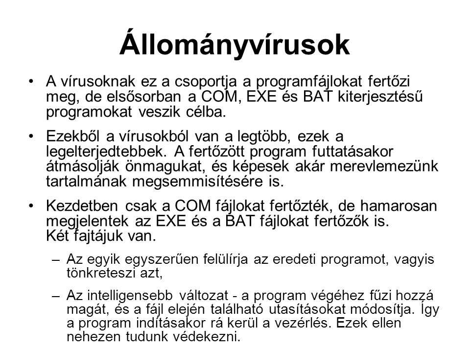 Állományvírusok A vírusoknak ez a csoportja a programfájlokat fertőzi meg, de elsősorban a COM, EXE és BAT kiterjesztésű programokat veszik célba. Eze