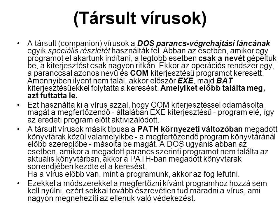(Társult vírusok) A társult (companion) vírusok a DOS parancs-végrehajtási láncának egyik speciális részletét használták fel.