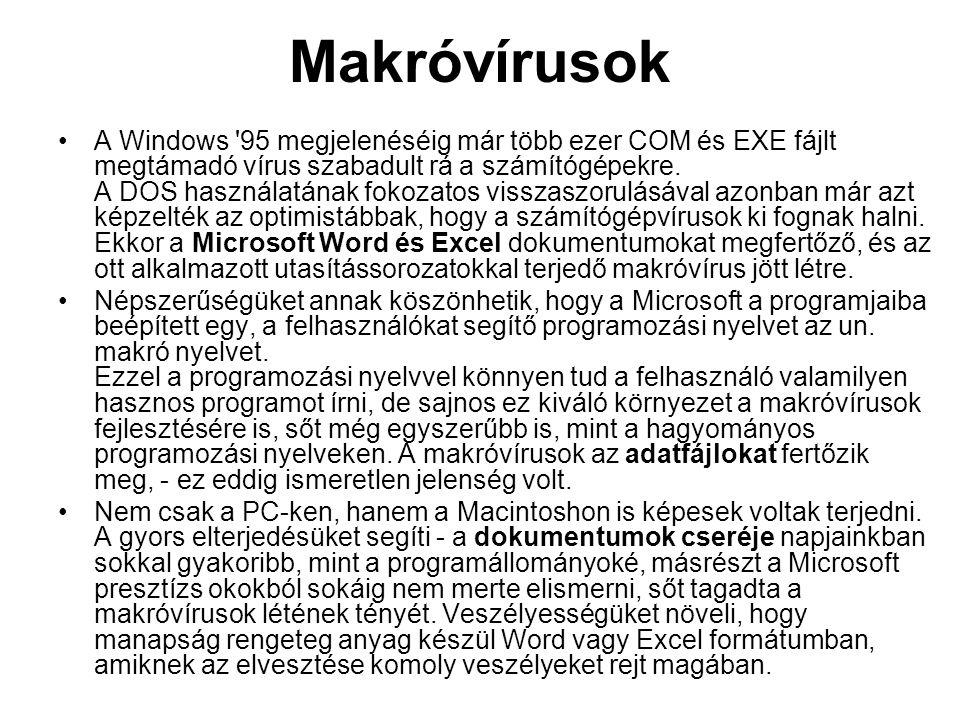 Makróvírusok A Windows 95 megjelenéséig már több ezer COM és EXE fájlt megtámadó vírus szabadult rá a számítógépekre.