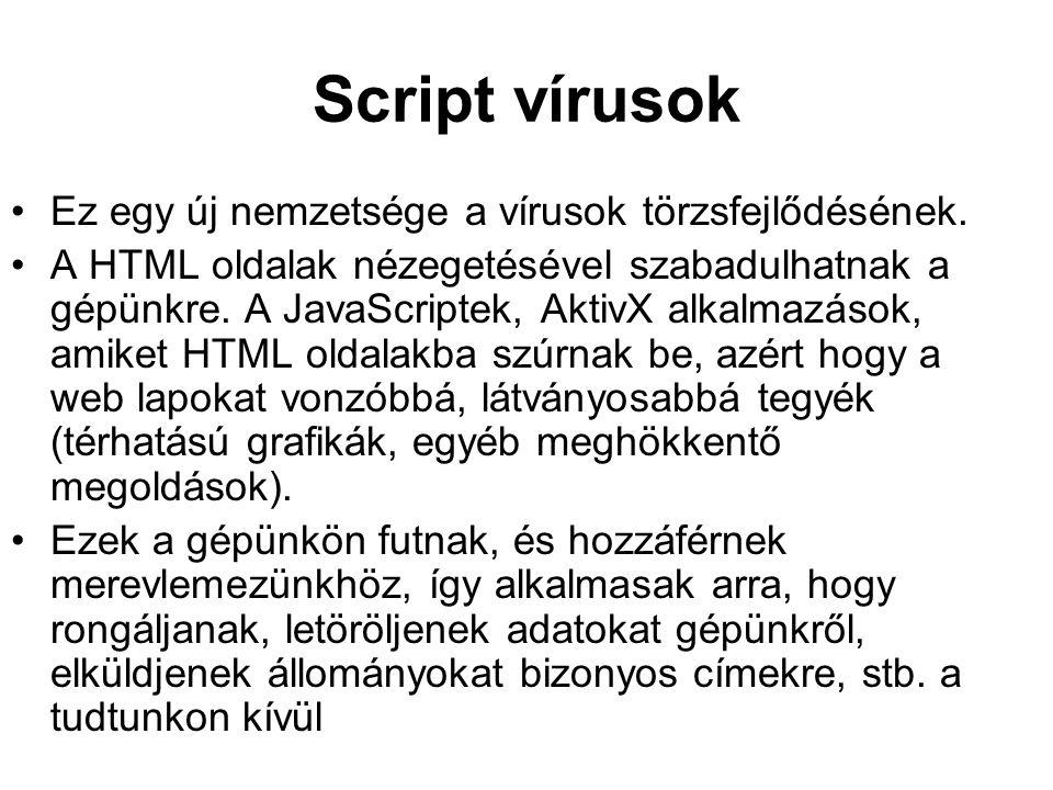 Script vírusok Ez egy új nemzetsége a vírusok törzsfejlődésének. A HTML oldalak nézegetésével szabadulhatnak a gépünkre. A JavaScriptek, AktivX alkalm