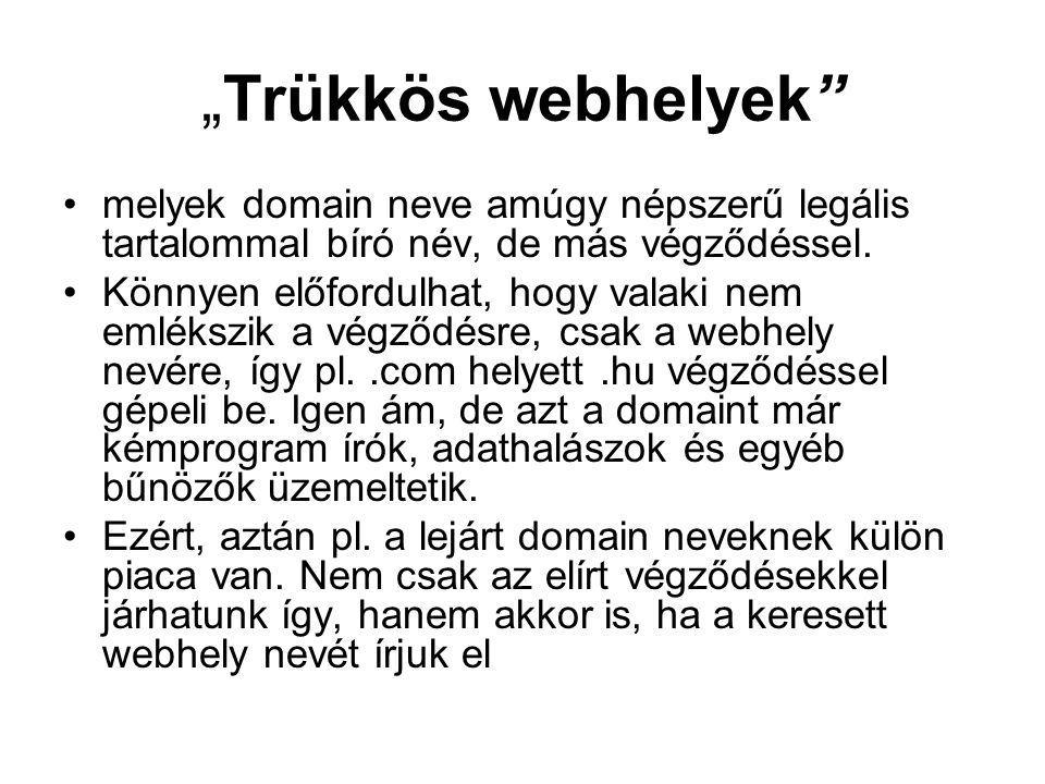 """""""Trükkös webhelyek"""" melyek domain neve amúgy népszerű legális tartalommal bíró név, de más végződéssel. Könnyen előfordulhat, hogy valaki nem emlékszi"""