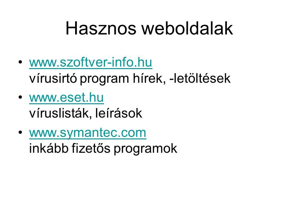 Hasznos weboldalak www.szoftver-info.hu vírusirtó program hírek, -letöltésekwww.szoftver-info.hu www.eset.hu víruslisták, leírásokwww.eset.hu www.symantec.com inkább fizetős programokwww.symantec.com
