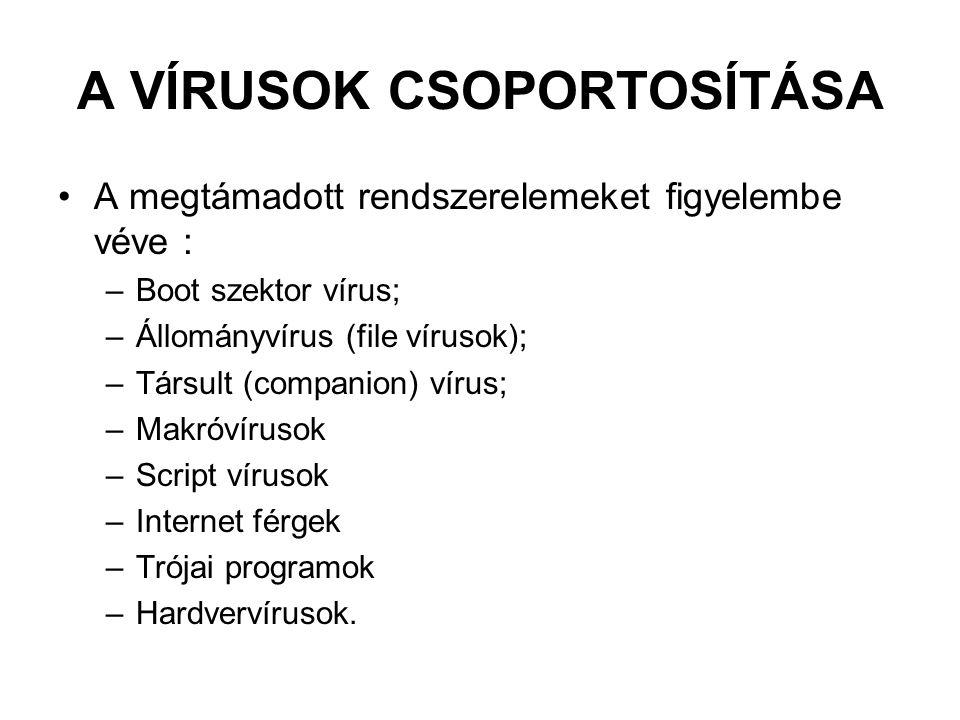 A VÍRUSOK CSOPORTOSÍTÁSA A megtámadott rendszerelemeket figyelembe véve : –Boot szektor vírus; –Állományvírus (file vírusok); –Társult (companion) vírus; –Makróvírusok –Script vírusok –Internet férgek –Trójai programok –Hardvervírusok.