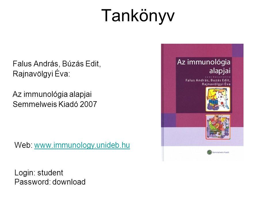 Tankönyv Falus András, Búzás Edit, Rajnavölgyi Éva: Az immunológia alapjai Semmelweis Kiadó 2007 Web: www.immunology.unideb.huwww.immunology.unideb.hu Login: student Password: download