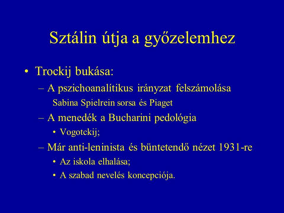Sztálin útja a győzelemhez Trockij bukása: –A pszichoanalítikus irányzat felszámolása Sabina Spielrein sorsa és Piaget –A menedék a Bucharini pedológia Vogotckij; –Már anti-leninista és büntetendő nézet 1931-re Az iskola elhalása; A szabad nevelés koncepciója.