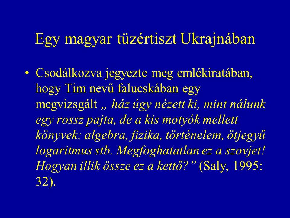 """Egy magyar tüzértiszt Ukrajnában Csodálkozva jegyezte meg emlékiratában, hogy Tim nevű falucskában egy megvizsgált """" ház úgy nézett ki, mint nálunk egy rossz pajta, de a kis motyók mellett könyvek: algebra, fizika, történelem, ötjegyű logaritmus stb."""
