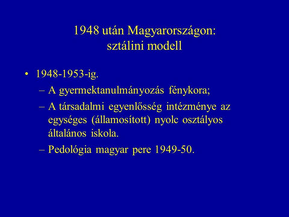1948 után Magyarországon: sztálini modell 1948-1953-ig.