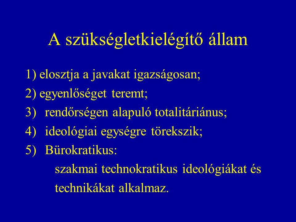 A szükségletkielégítő állam 1) elosztja a javakat igazságosan; 2) egyenlőséget teremt; 3)rendőrségen alapuló totalitáriánus; 4)ideológiai egységre törekszik; 5)Bürokratikus: szakmai technokratikus ideológiákat és technikákat alkalmaz.