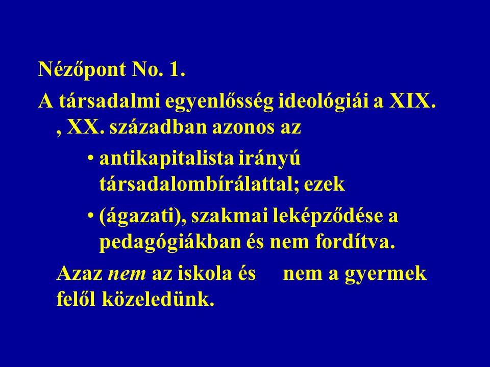 Nézőpont No.1. A társadalmi egyenlősség ideológiái a XIX., XX.