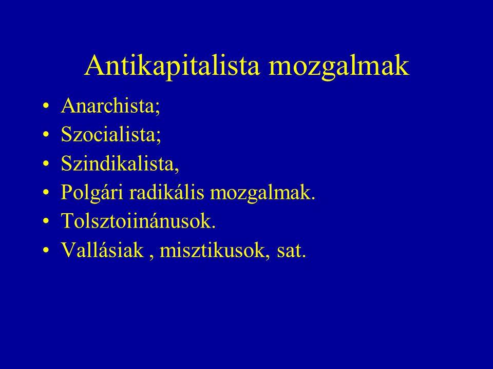 Antikapitalista mozgalmak Anarchista; Szocialista; Szindikalista, Polgári radikális mozgalmak.
