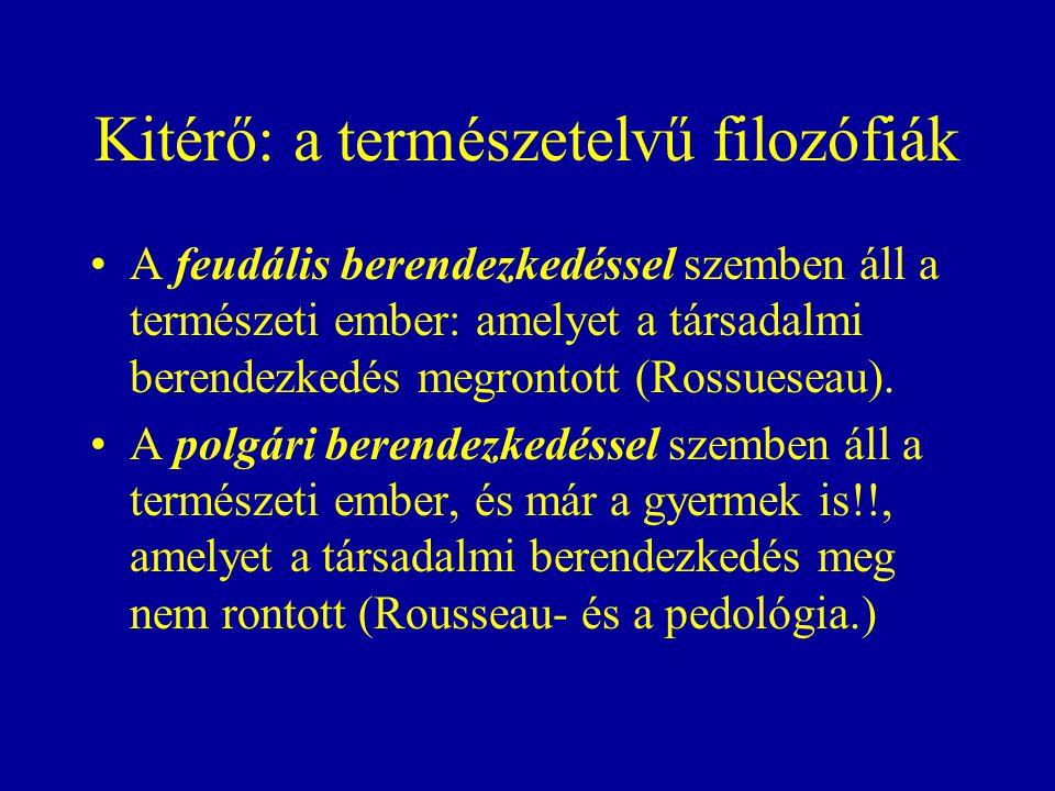 Kitérő: a természetelvű filozófiák A feudális berendezkedéssel szemben áll a természeti ember: amelyet a társadalmi berendezkedés megrontott (Rossueseau).