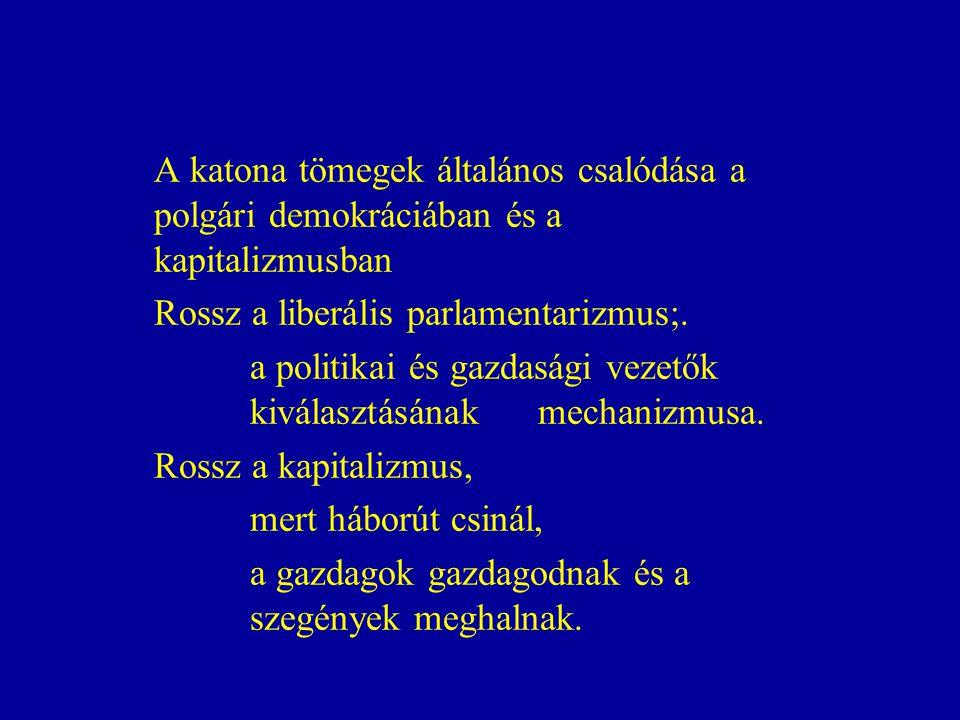 A katona tömegek általános csalódása a polgári demokráciában és a kapitalizmusban Rossz a liberális parlamentarizmus;.