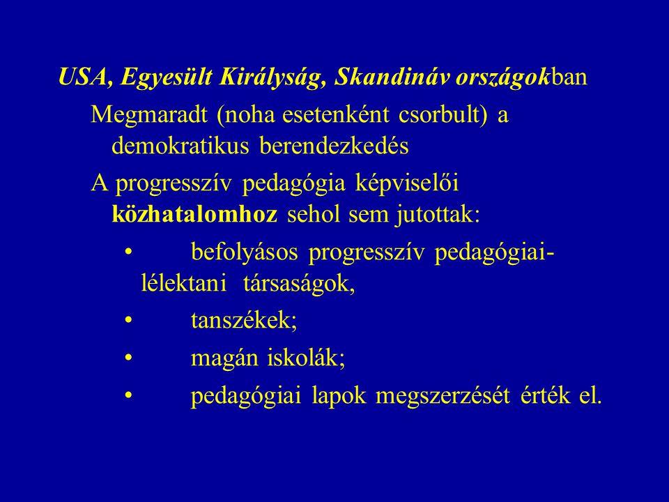 USA, Egyesült Királyság, Skandináv országokban Megmaradt (noha esetenként csorbult) a demokratikus berendezkedés A progresszív pedagógia képviselői közhatalomhoz sehol sem jutottak: befolyásos progresszív pedagógiai- lélektani társaságok, tanszékek; magán iskolák; pedagógiai lapok megszerzését érték el.