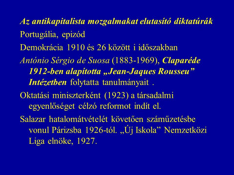 """Az antikapitalista mozgalmakat elutasító diktatúrák Portugália, epizód Demokrácia 1910 és 26 között i időszakban António Sérgio de Suosa (1883-1969), Claparéde 1912-ben alapította """"Jean-Jaques Rousseu Intézetben folytatta tanulmányait."""