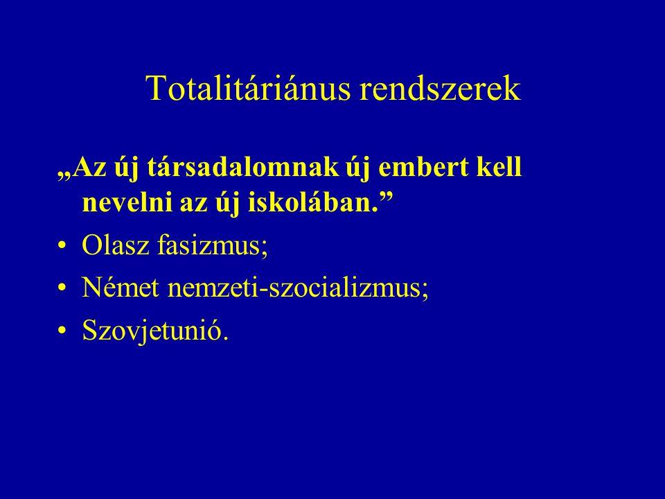 """Totalitáriánus rendszerek """"Az új társadalomnak új embert kell nevelni az új iskolában. Olasz fasizmus; Német nemzeti-szocializmus; Szovjetunió."""