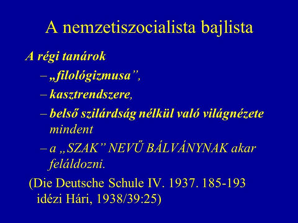 """A nemzetiszocialista bajlista A régi tanárok –""""filológizmusa , –kasztrendszere, –belső szilárdság nélkül való világnézete mindent –a """"SZAK NEVŰ BÁLVÁNYNAK akar feláldozni."""