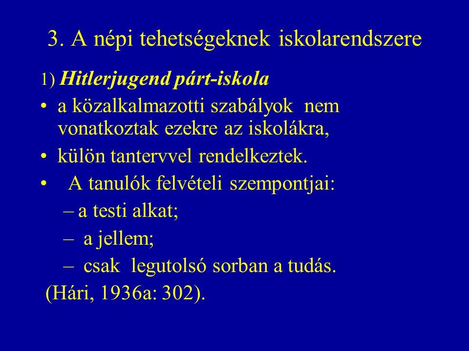 3. A népi tehetségeknek iskolarendszere 1) Hitlerjugend párt-iskola a közalkalmazotti szabályok nem vonatkoztak ezekre az iskolákra, külön tantervvel