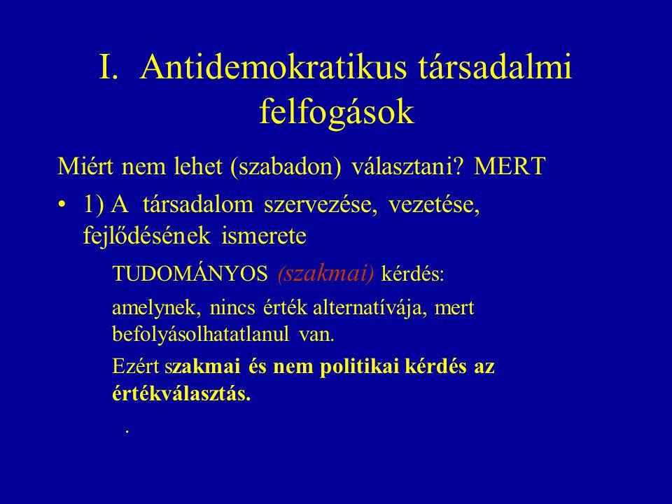 I.Antidemokratikus társadalmi felfogások Miért nem lehet (szabadon) választani.