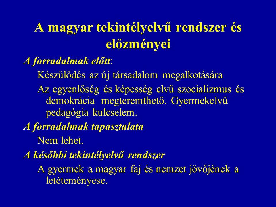 A magyar tekintélyelvű rendszer és előzményei A forradalmak előtt: Készülődés az új társadalom megalkotására Az egyenlőség és képesség elvű szocializmus és demokrácia megteremthető.