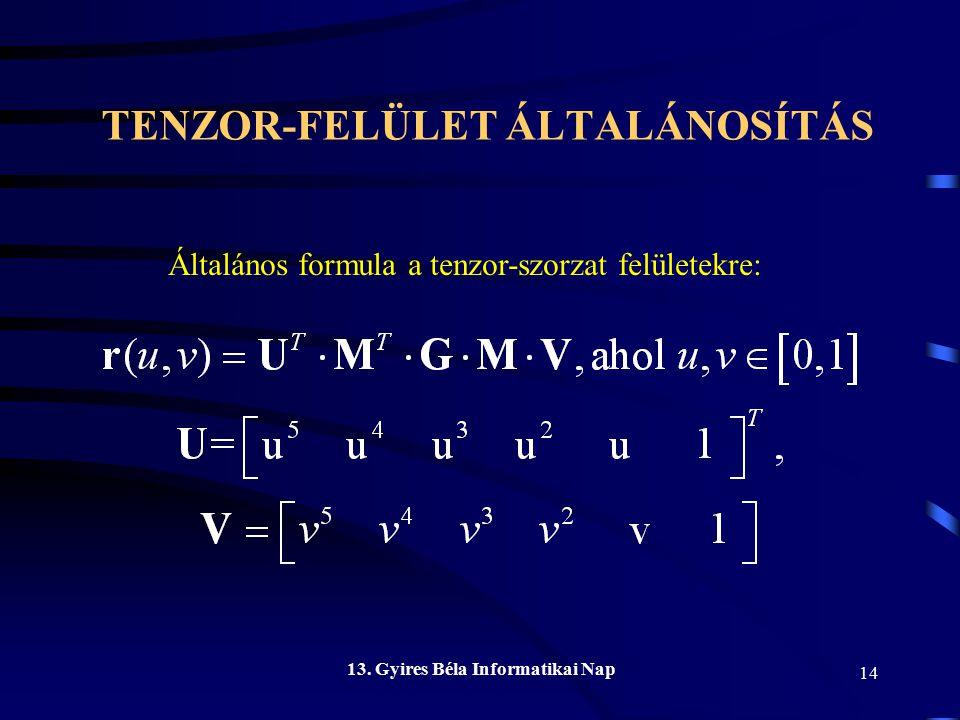 TENZOR-FELÜLET ÁLTALÁNOSÍTÁS 13. Gyires Béla Informatikai Nap 14 Általános formula a tenzor-szorzat felületekre: