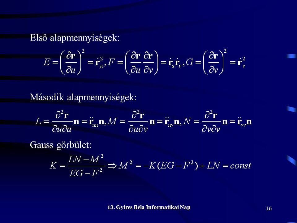 Első alapmennyiségek: Második alapmennyiségek: Gauss görbület: 13. Gyires Béla Informatikai Nap 16
