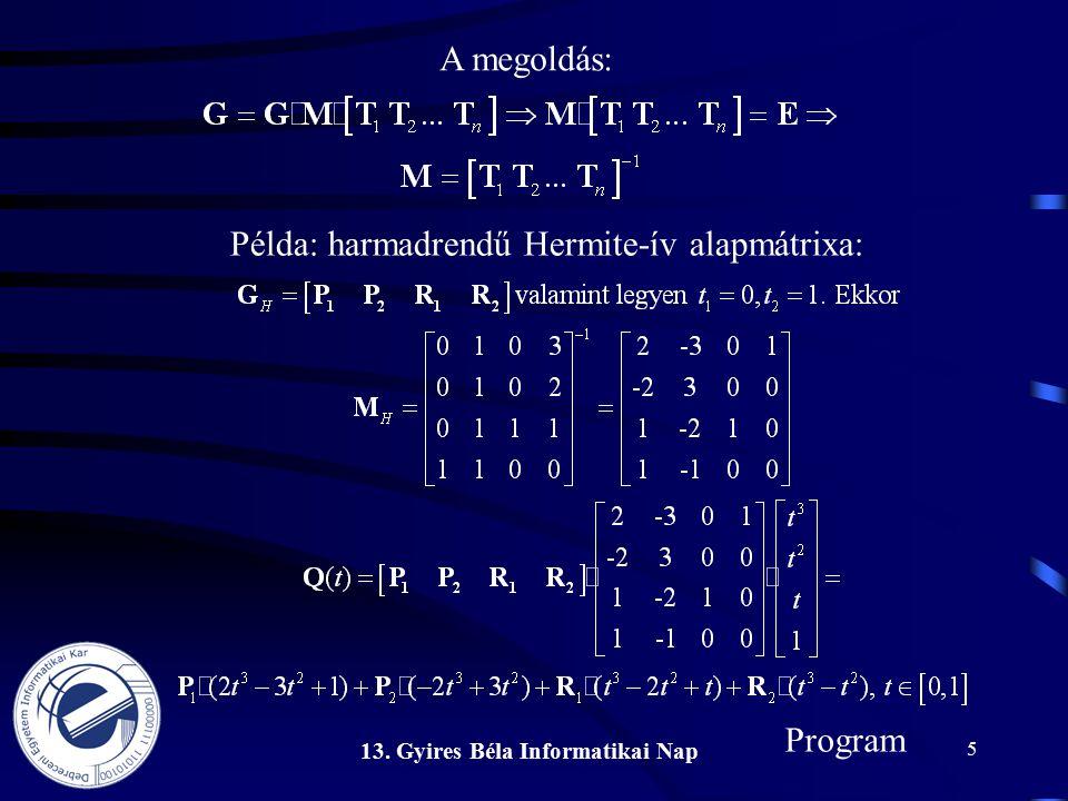 13. Gyires Béla Informatikai Nap 5 A megoldás: Program Példa: harmadrendű Hermite-ív alapmátrixa: