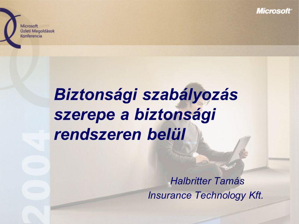 Biztonsági szabályozás szerepe a biztonsági rendszeren belül Halbritter Tamás Insurance Technology Kft.