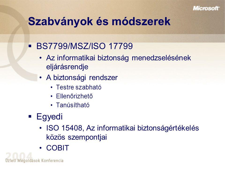 Szabványok és módszerek  BS7799/MSZ/ISO 17799 Az informatikai biztonság menedzselésének eljárásrendje A biztonsági rendszer Testre szabható Ellenőriz